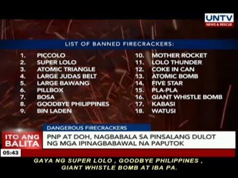 PNP at DOH, nagbabala sa pinsalang dulot ng mga ipinagbabawal na paputok