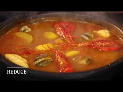 """Angler fish and Prawns"" Recipe by Yban Leblay. Gastronomic Hotel Gran Claustre"