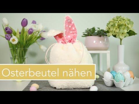 Osterkörbchen / Hasenbeutel nähen für Ostern mit kostenlosem Schnittmuster