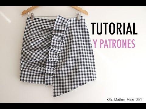 Patrones de mini falda con volante fruncida (gratis en varias tallas)