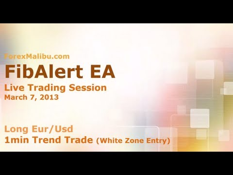 March 7, 2013 FibAlert EA - Long Eur/Usd  - 1m Trend WZ entry- Forex Day Trading Software