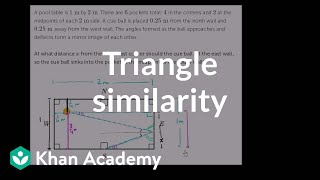 Triangle similarity in pool