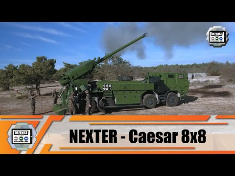 8x8 wheeled self-propelled howitzer 155m CAESAR Nexter Systems truck with artillery systems France