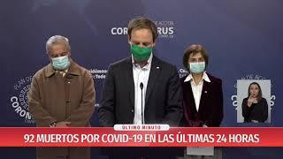 Balance del Gobierno: Fallecidos por COVID-19 llegan a 92 alcanzando nuevo peak