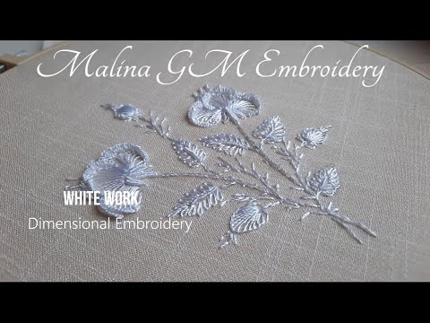 White Work Dimensional Embroidery   Exquisite white bouquet