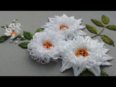 Beautiful White Flowers : 3D Embroidery | Easy Stitches