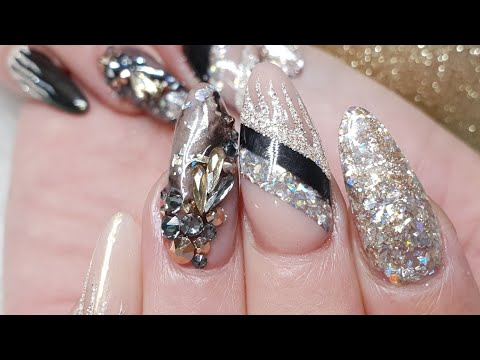 Gold and Black New Year Nails - Geometric Design - Textured Gel Art - Swarovski Crystals