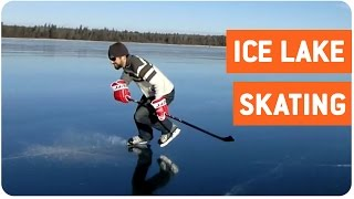 Hockey Player Skates on Frozen Clear Lake | Glassy