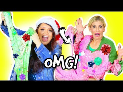 connectYoutube - DIY Ugly Christmas Sweater SLIME Challenge! *GONE WRONG*