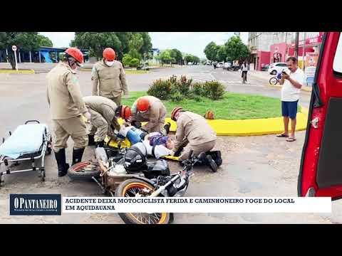 Acidente deixa motociclista ferida e caminhoneiro foge do local em Aquidauana