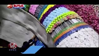 Organisers use Sanitisers, Masks backslashu0026 Medicines to Decorate Sai Temple   V6 Teenmaar News - V6NEWSTELUGU