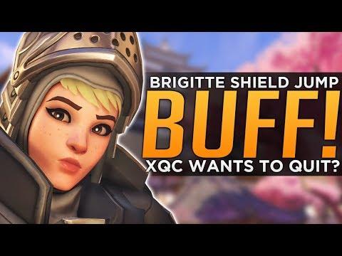 connectYoutube - Overwatch: Brigitte Shield Jump BUFFED! - xQc Wants to QUIT!?