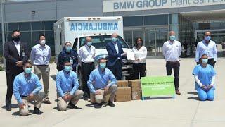 Gobierno de SLP recibe insumos médicos donados por BMW.