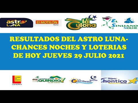 Resultados del ASTRO LUNA de jueves 29 julio 2021,CHANCES NOCHES,LOTERIAS DE HOY 29 Julio 2021