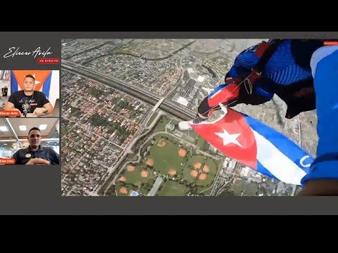 Salto en paracaídas en apoyo a los cubanos