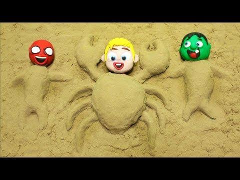 connectYoutube - Babies Superhero Play with Sand Stop motion movies Hulk & Frozen Elsa Play Doh Cartoons