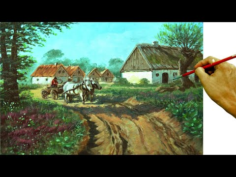 fbd485377 Acrylic Landscape Painting Tutorial | Village With Farmer And Cattle By  JMLisondra