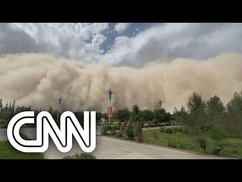 Cidade é tomada por tempestade de areia na China | NOVO DIA