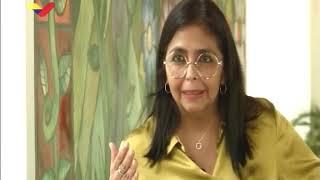 Delcy Rodríguez explica por qué el salario no continuó fijado a medio petro