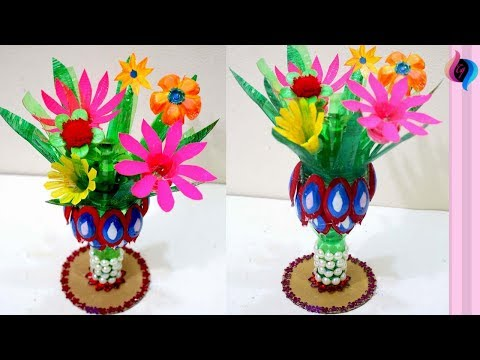 How to make flower vase with plastic bottle step by step - DIY Craft with plastic bottles flowers
