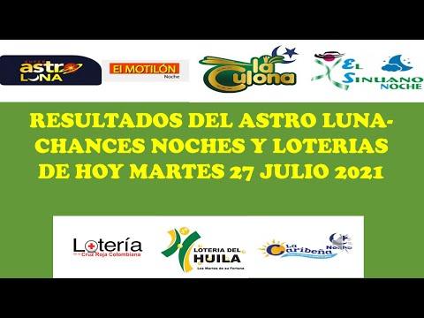 Resultados del  CHANCES NOCHESde martes 27 julio 2021,resultados ASTRO LUNA,LOTERIAS DE HOY 27 julio
