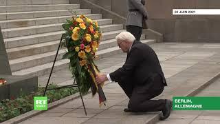 Allemagne : le président allemand dépose des gerbes de fleurs au mémorial soviétique à Berlin