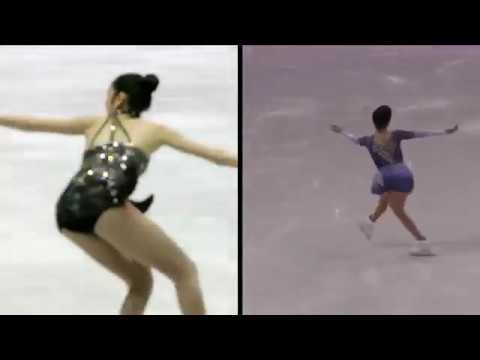 Evgenia Medvedeva Pyeong Chang Ladies' Short Program 2018 - Live comparison Yuna Kim
