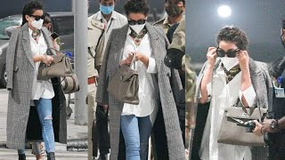 Kangana Ranaut spotted at airport post wrapping thalaivi shoot in Hyderabad - TFPC