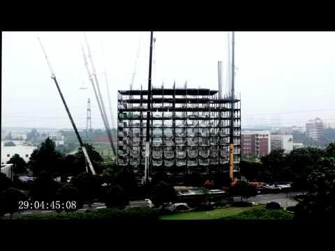 Video: 15 aukštų viešbutis per 90 valandų - Made in China.