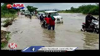 Telangana Irrigation Projects Filled With Flood Water | V6 Teenmaar News - V6NEWSTELUGU