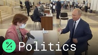 Putin Votes in Russia Referendum That Would Allow Him to Stay in Power Until 2036