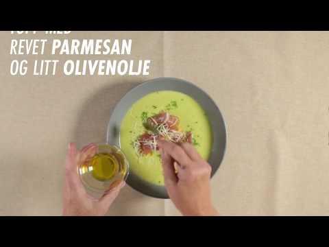 Brokkoli- og blomkålsuppe med brødkrutonger og parmaskinke