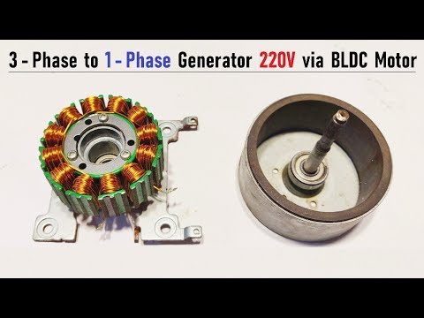 New Invention! Make 220V AC Generator 1 Phase from Brushless DC Motor ( BLDC 3 Phase )