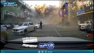 لحظة انفجار مطعم بعد تسرب الغاز