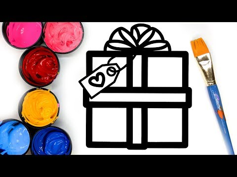 Painting Simple Christmas Present Coloring Pages with Paint, Learn to Color with Painting