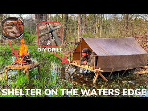 Solo Overnight Building an Elevated Shelter On The Waters Edge and Bacon Wild Onion Morel Ribeye