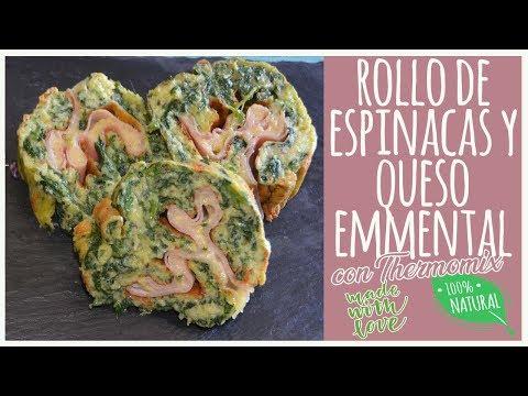 Rollo de espinacas y queso emmental