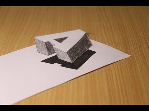How To Drawing 3D Floating Letter A - Step By Step 3D Trick