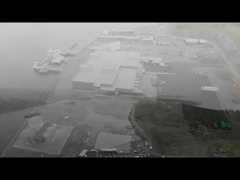 Drone footage of Leroy's automated salmon plant