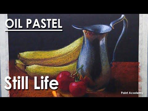 Oil Pastel Still Life Drawing : Fruits & Utensil