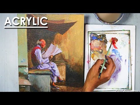 Acrylic Painting : An old man reading newspaper | Figure painting