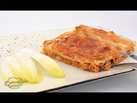 Empanada de jamón asado con masa de hojaldre fácil y rápida
