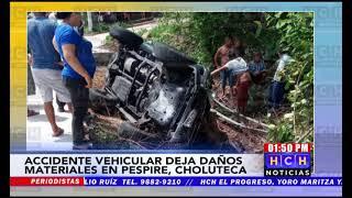 ¡Salvado! Conductor resulta lesionado tras volcamiento en Pespire, Choluteca