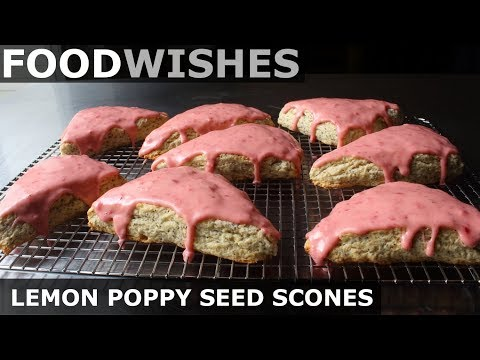 Lemon Poppy Seed Scones with Strawberry Glaze - Food Wishes