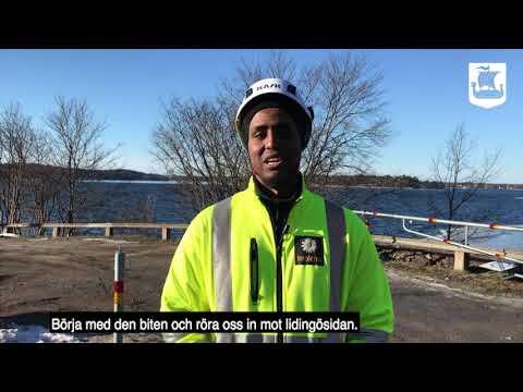 Del 1: Platskontor sätts upp inför bygget av Lilla Lidingöbron