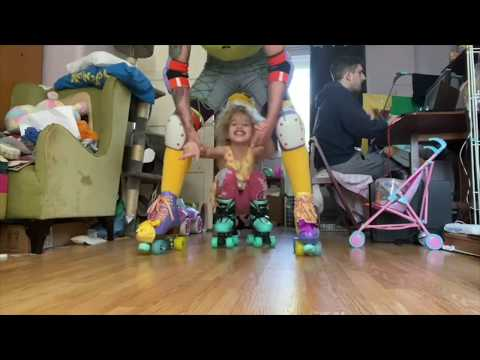 Skaters Practicing Roller Skating Indoors at Home! Montage #2