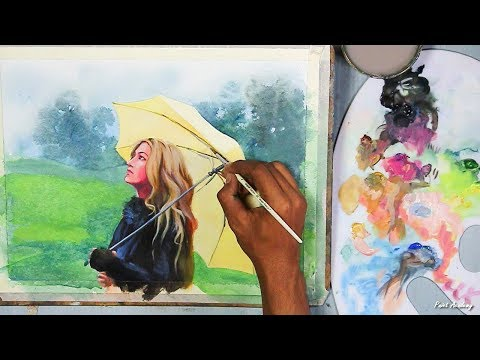 Acrylic Painting : A Girl in A Rainy Day | step by step