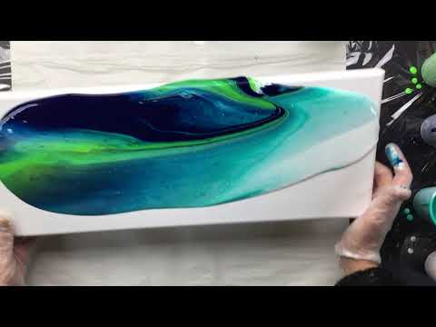 ( 543 ) 50cm x 20 cm acrylic pour take 2