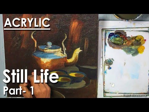 Acrylic Still Life Painting : Kettle, Cup & Utensils | Part- 1