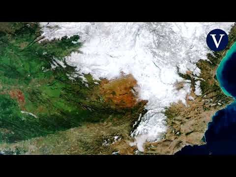 La nieve de Filomena sobre España, desde el espacio